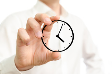 Hand holding sketched time clock