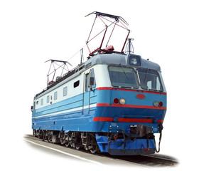 Электровоз на белом фоне с фрагментом железнодорожного пути