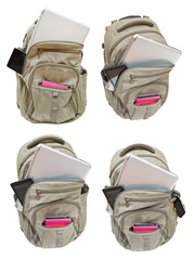 set of backpacks with mobile devices isolated