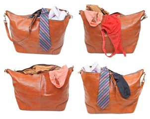 set of handbags with female and male clothes