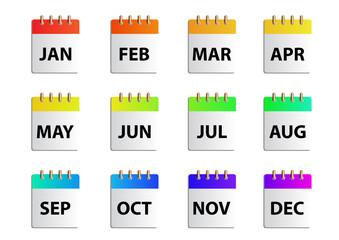 Vector months calender
