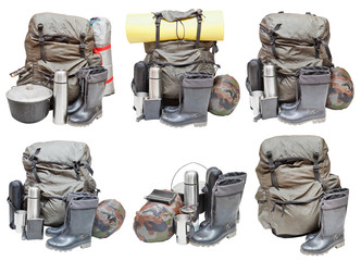 different sets of camping equipment isolated