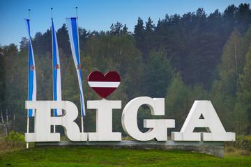 Riga sign with heart. Riga, capital of Latvia. EU.