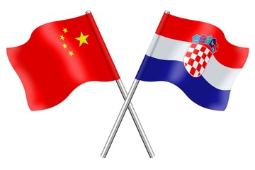Flags: China and Croatia