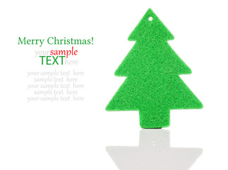 Christmas green tree decorations isolated on white background