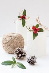 Christmas Snowy Mason Jars with Rose Hips