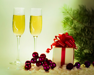 Two champagne glasses ready to bring
