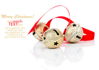 Christmas jingle bell with red ribbon, on white