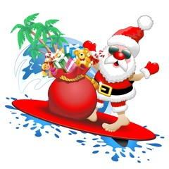 Santa Claus Surfer Cartoon