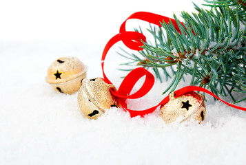 Christmas jingle bell with red ribbon, with snow