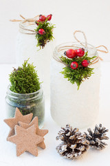Christmas Snowy Mason Jars with Rose Hips and Moss