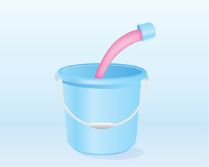 Pour liquid mixed with water in blue pail