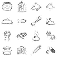 Vector Set of Sketch Pets Icons