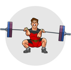 cartoon weightlifter with an effort squeezing barbell