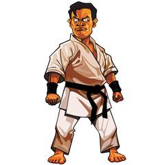 cartoon stern man in a kimono with a black belt
