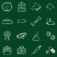 Vector Set of Chalk Pets Icons