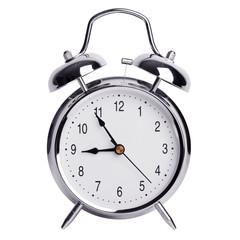 Five to nine on an alarm clock