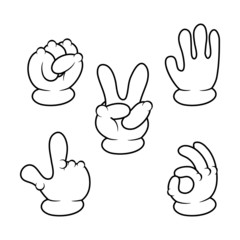 Vector illustration of Cartoon hands sign collection