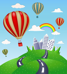 Fantasy landscape with road and hot air balloon