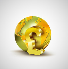 World economic concept with 3d gold world and Pound currency iso
