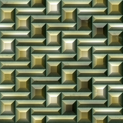Mosaic seamless pattern of green and gold tiles