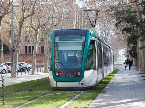 Ordinary tramway on street - 74289409