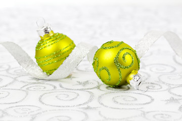 Christmas bauble decoration .fabric on Xmas background