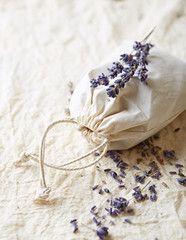 Bag of dried lavender (close up)