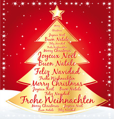 Gold christmas tree with best wishes in several languages.
