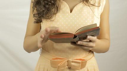 Vintage girl book old long MS LT