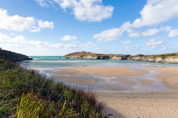 Porth beach and Trevelgue Head Newquay Cornwall England UK