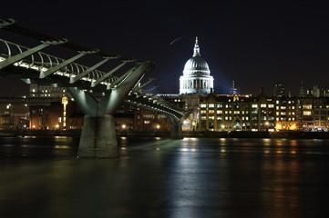 London Night at Millenium Bridge and St Pauls