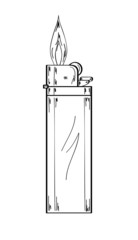 lighter with flame, sketch