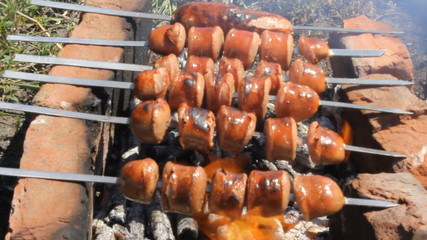 Grilled sausages over campfire 10476_02