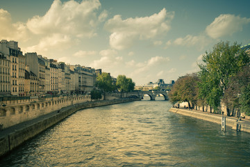 Banks of the River Seine in Paris France with vintage tone