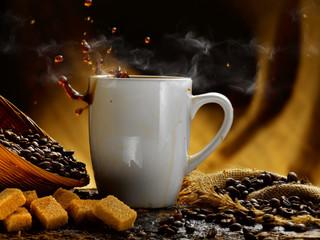 caffe' caldo fumante