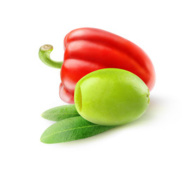 Pitted green olive and red bell pepper