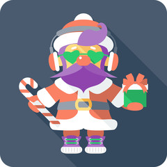 Santa  hipster Claus with gifts icon flat design