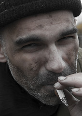 Middle-aged man with a cigarette