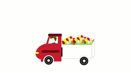 The truck rides and transporting flowers on a white background