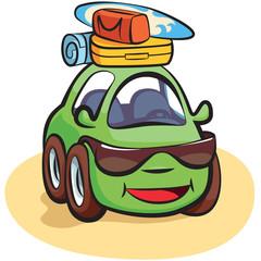 Traveling Car Cartoon Vector
