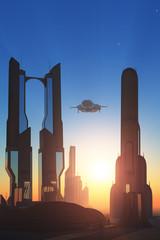 City skyscrapers.