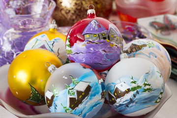 Christmas Balls painted with winter landscape