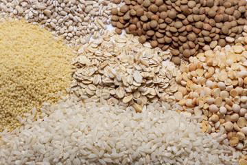 Couscous, rice, pea, grits, oatmeal, lentil.
