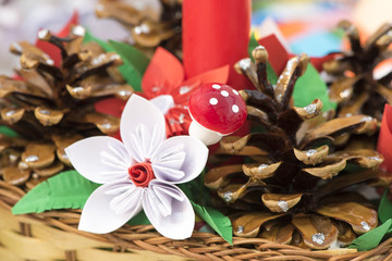 Beautiful Christmas Decorations. Background for congratulation.