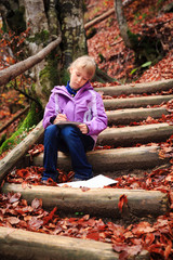 Little artist at mountain