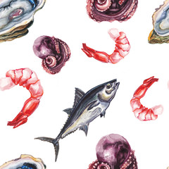 watercolor sea delicacies pattern
