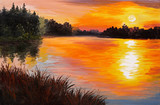 Fototapeta oil painting - lake in a forest, sunset. abstract painting, art