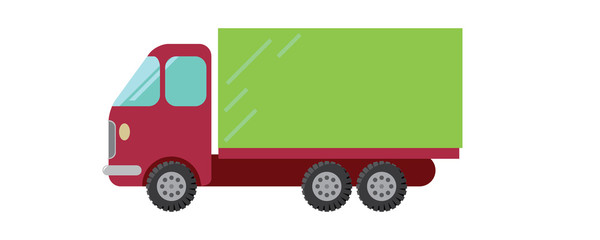 Red green van vector illustration