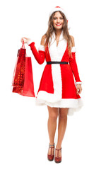 Santa Claus woman holding shopping bags